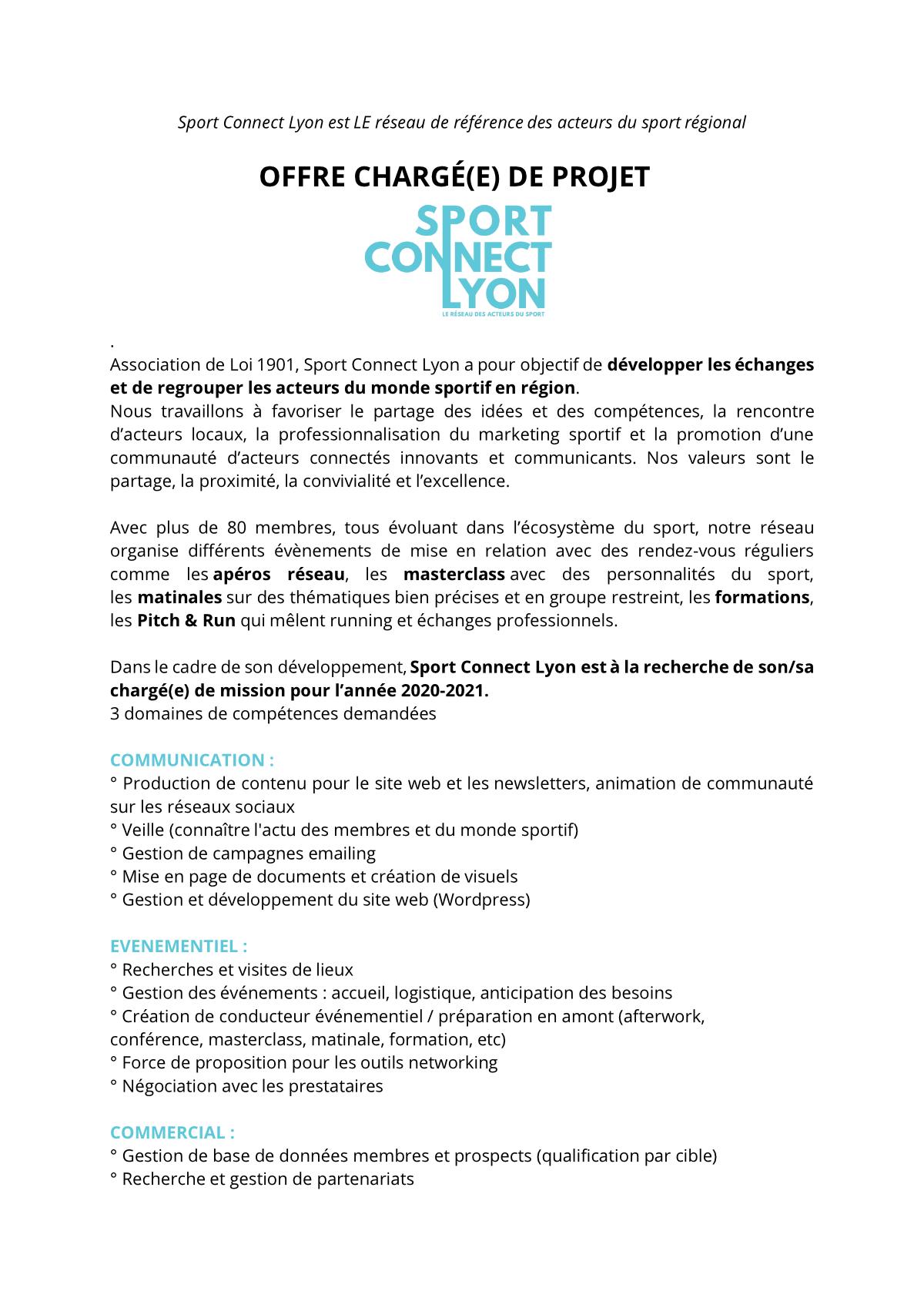 Offre Sport Connect Lyon en tant que chef de projet